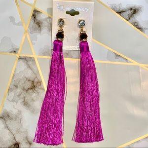 Jewelry - Tassel fringe earrings with rhinestones magenta